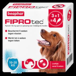 Fiprotec Spot-On hond 10-20kg 3+1 pipetten